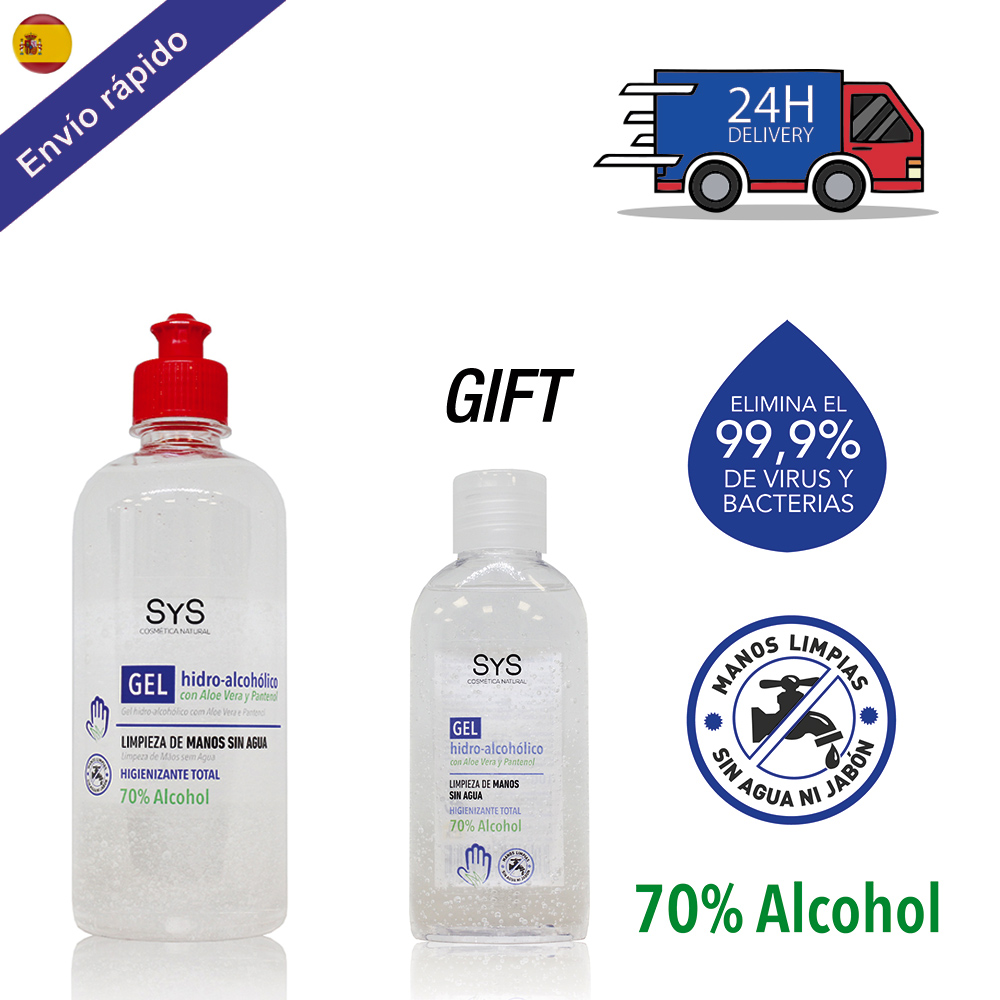 PACK GEL HIDROALCOHOLICO Hands 500 ML + 100 / 70% ALCOHOL Disinfectant-ANTISEPTICO-cleaning Hands-on ALCOHOL And ALOE VERA