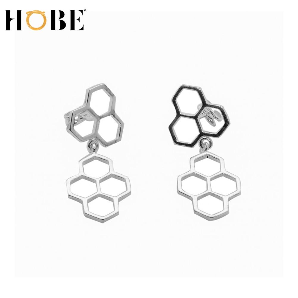 Hobe-boucles d'oreilles panneau argent-boucles d'oreilles femmes élégantes 925 en argent sterling avec forme hexagonale de ruche