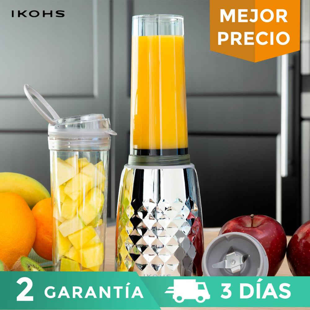 IKOHS BEIZ SLIM Glass Mixer400ml234W Professional Portable Mixer Chromed Metallic Vegetable Fruit Citrus Orange 1 Vaso