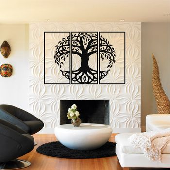Tree of Life 3 Pieces Metal Wall Art, Metal Tree Wall Art, Tree Sign, Metal Wall Decor, Interior Decoration, Housewarming Gift фото