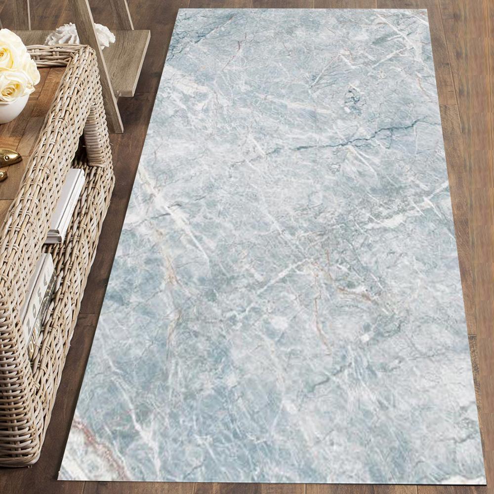 Else Blue White Marble Stones Nordec Scandinav 3d Print Non Slip Microfiber Washable Runner Mats Floor Mat Rugs Hallway Carpets