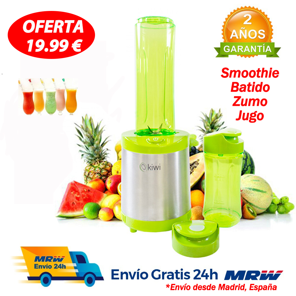 Blender with Bottle for Fruit 220-240 V 330W Green Color Take away your smoothie image