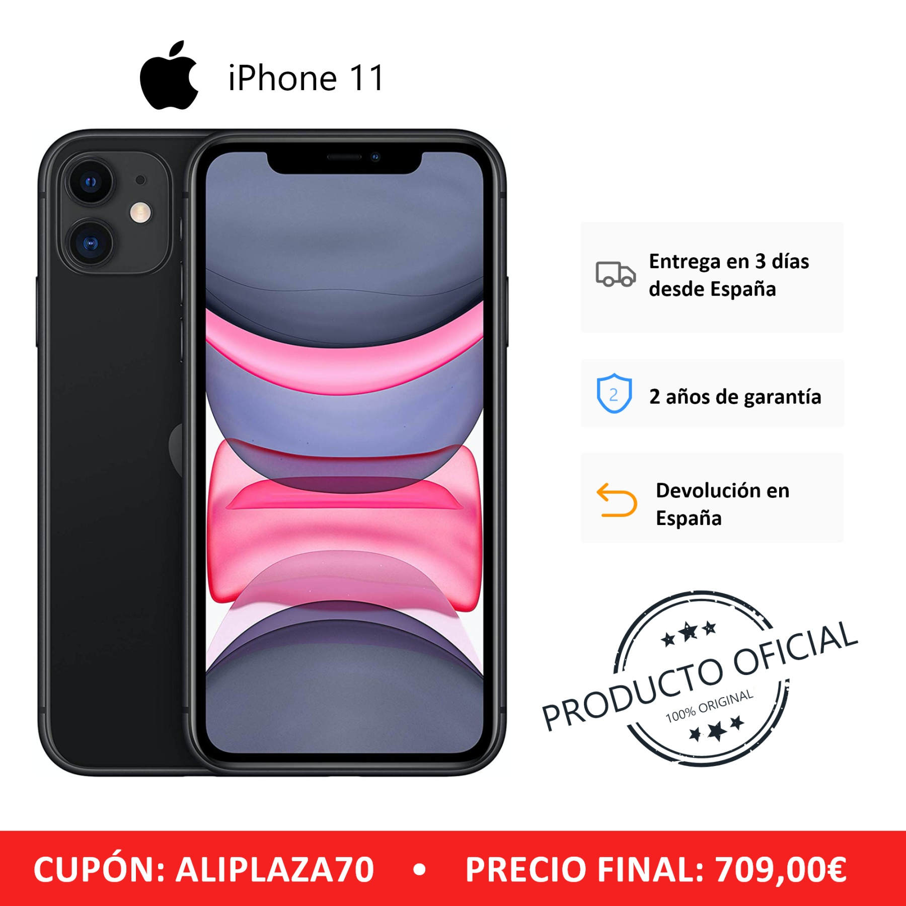 Apple iPhone 11 Smartphone (64 GB ROM, 4 GB RAM, Black Color, 12 MP Rear Camera, 12 MP Selfie Camera, 6.1 Screen, iOS System, New, Free, Cheap) [Mobile Phone EU Version] Plaza España, Mobile, Mobile, Mobile Phone Free image