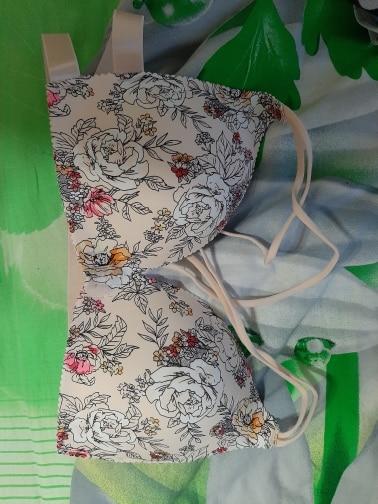 Fashion Floral Print Bra Front Buckle Underwear Seamless Cross Back Women Push Up Bras|Bras|   - AliExpress