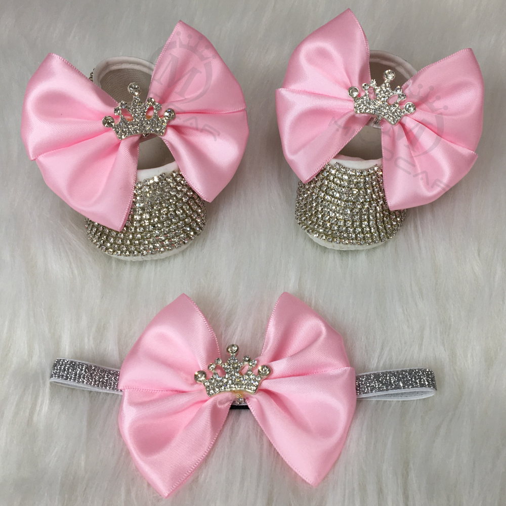 MIYOCAR bling Rhinestones baby girl shoes first walker headband set Sparkle Bling crystals Princess shower gift SH3
