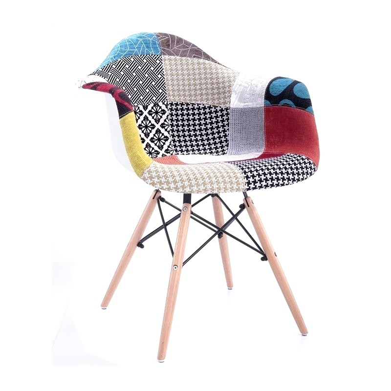 Armchair TOWER, Wood, White, Fabric Patchwork