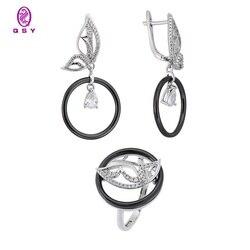 Ювелирный набор QSY. Керамические серьги и кольцо в виде бабочки. Висячие серьги-кольца. Элегантное украшение для женщин.