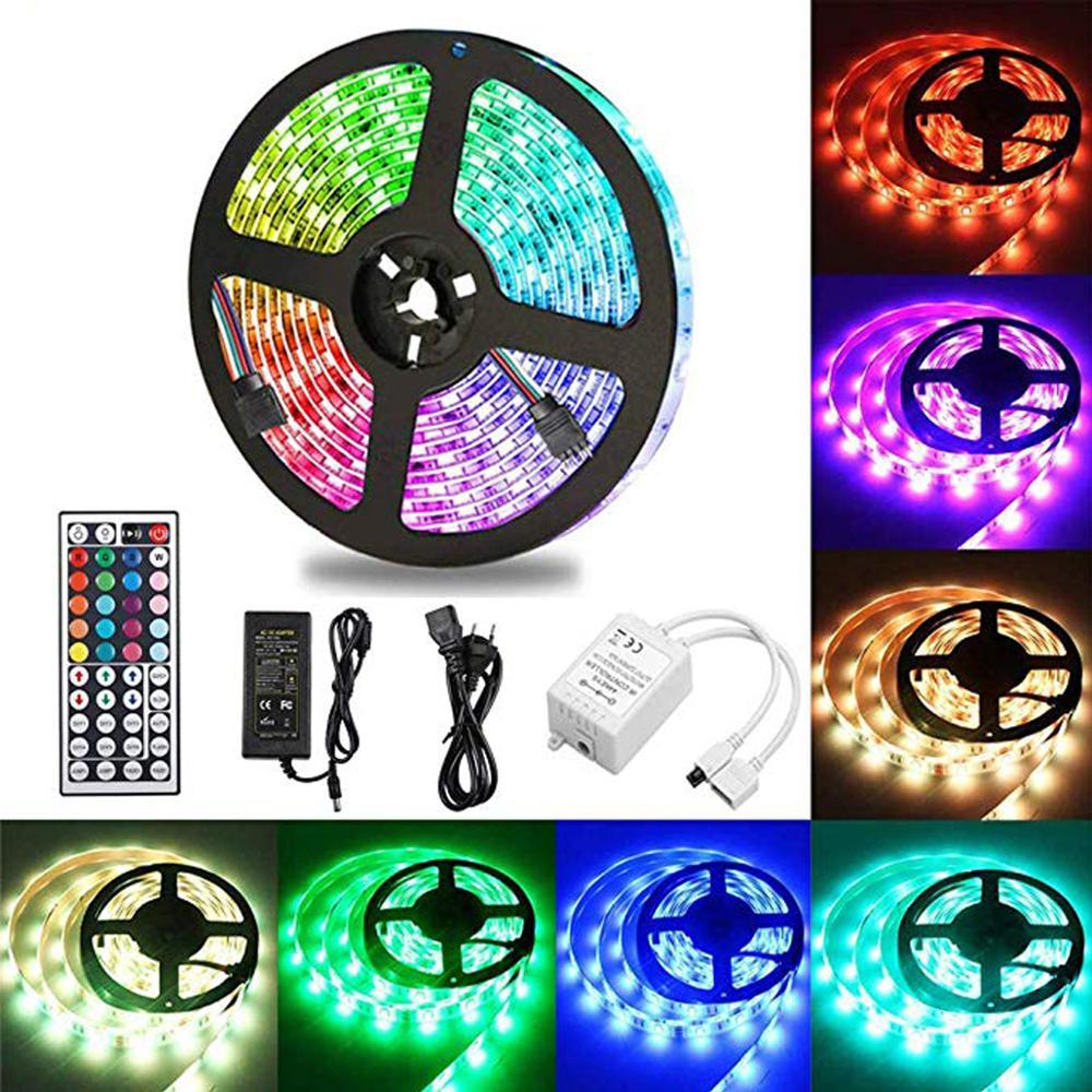 Tira LED De 5 Metros RGB 300 Leds 5050 SMD · Kit Completo Con Control Remoto De 44 Botones Para Fiesta, Hogar [Clase A]