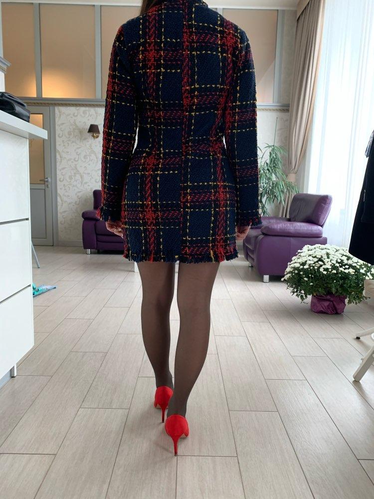 Berrygo Elegant Office Lady Plaid Winter Dress Long Sleeve Stand Collar Thick Warm Tassel Dress Fashion Slim Female Vestido photo review