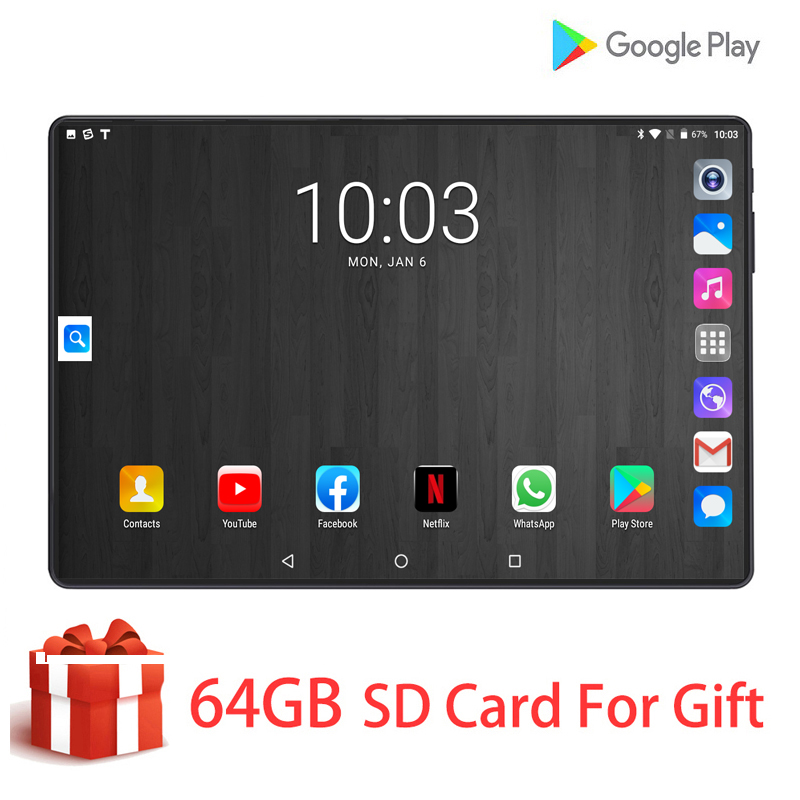 2020 DHL Free Shipping 10.1 Inch Tablets PC 8 Core 6GB RAM 128GB ROM Dual SIM Cards 4G LTE Tab Android 9.0 WiFi 10 10.1 +Gifts