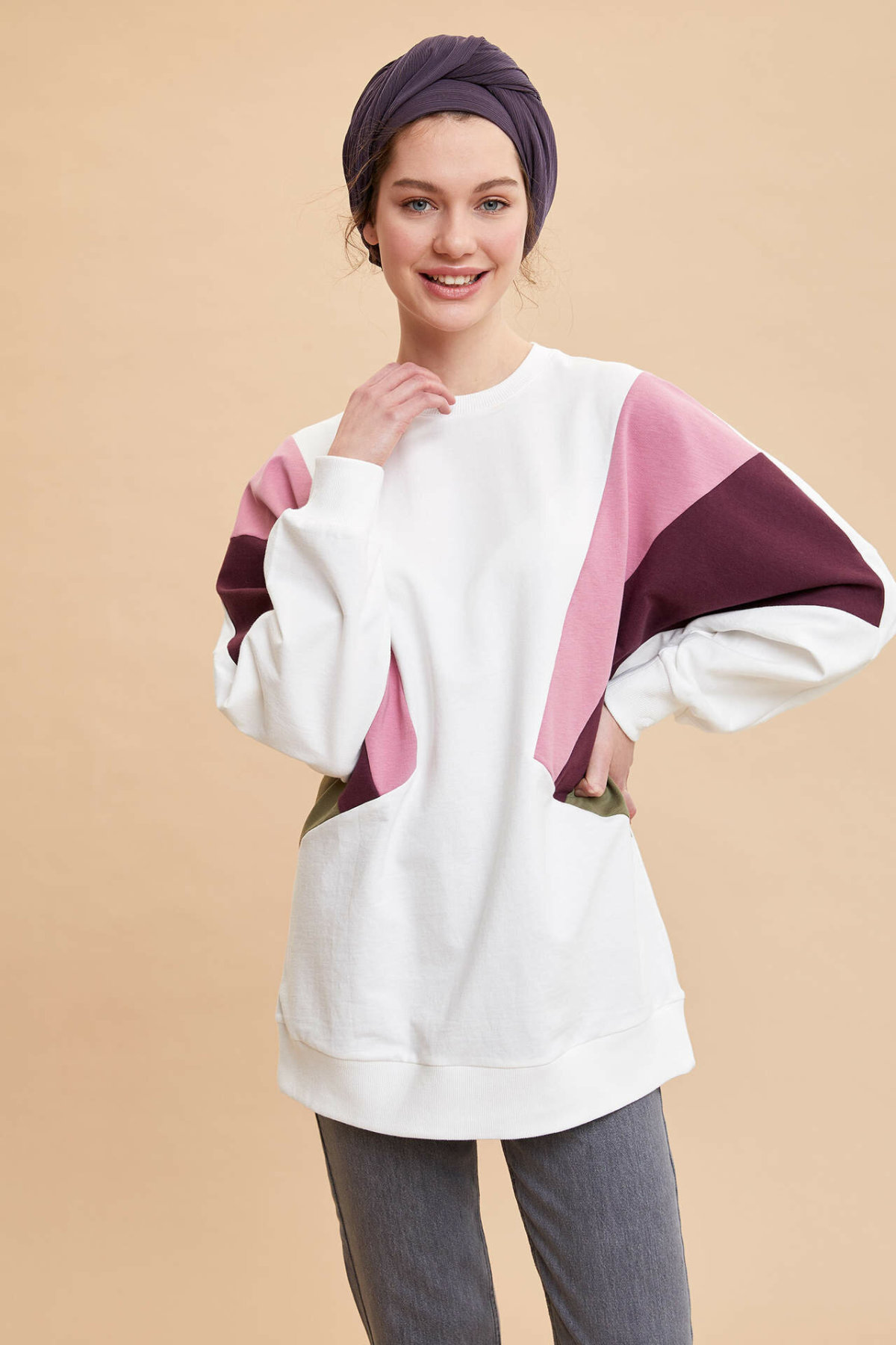 DeFacto Woman Spring Casual Long Pullovers Female Stylish Mixed Color Long Sleeve Knitted Tunic-K9433AZ20SP