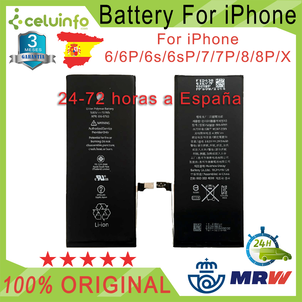 New Battery Original For IPhone 5 5C 5S SE 6 6s 6 Plus 6s Plus 7 7 Plus 8 8 Plus AAAAA Quality Shipping From Spain