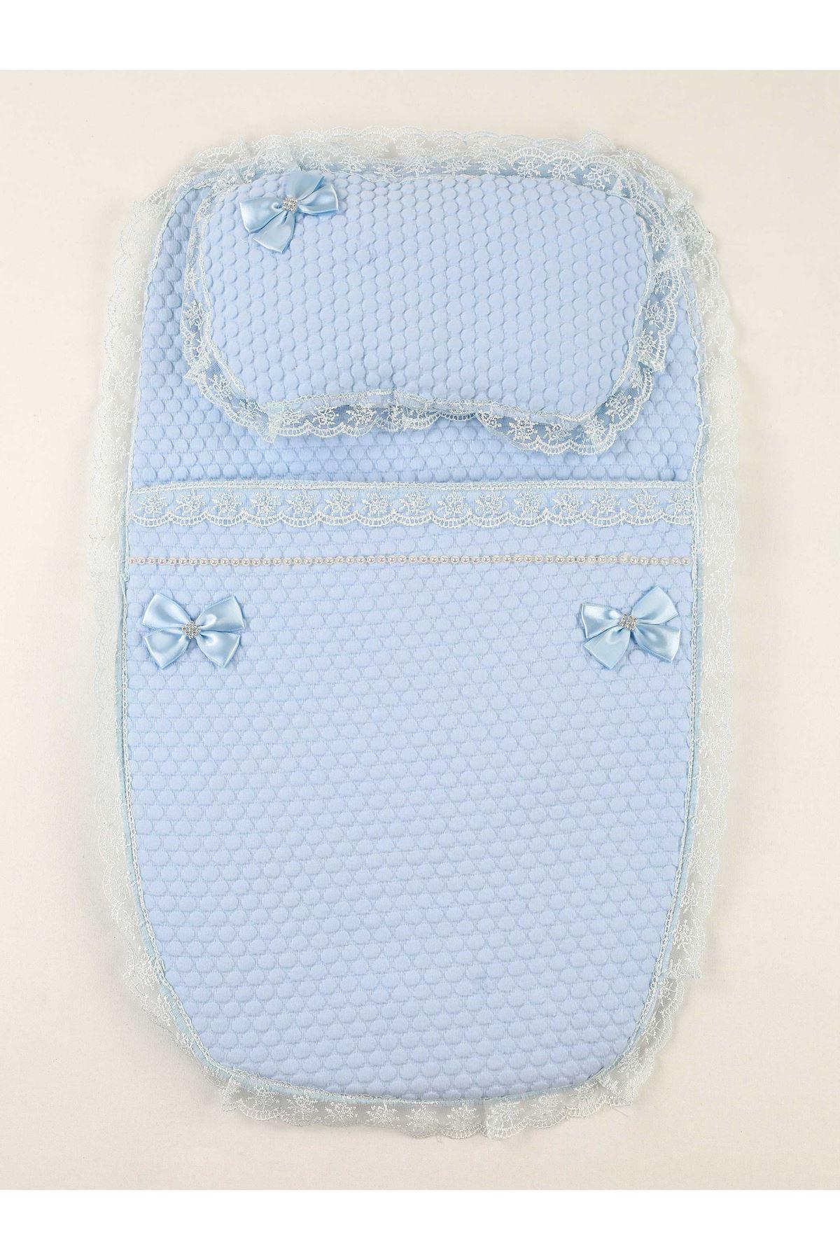 Blue Baby Boy Swaddle Bottom Opening
