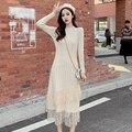 Осенне-зимняя одежда, Новое Кружевное вязаное нижнее платье, женский свитер средней длины, юбка, облегающая Талия