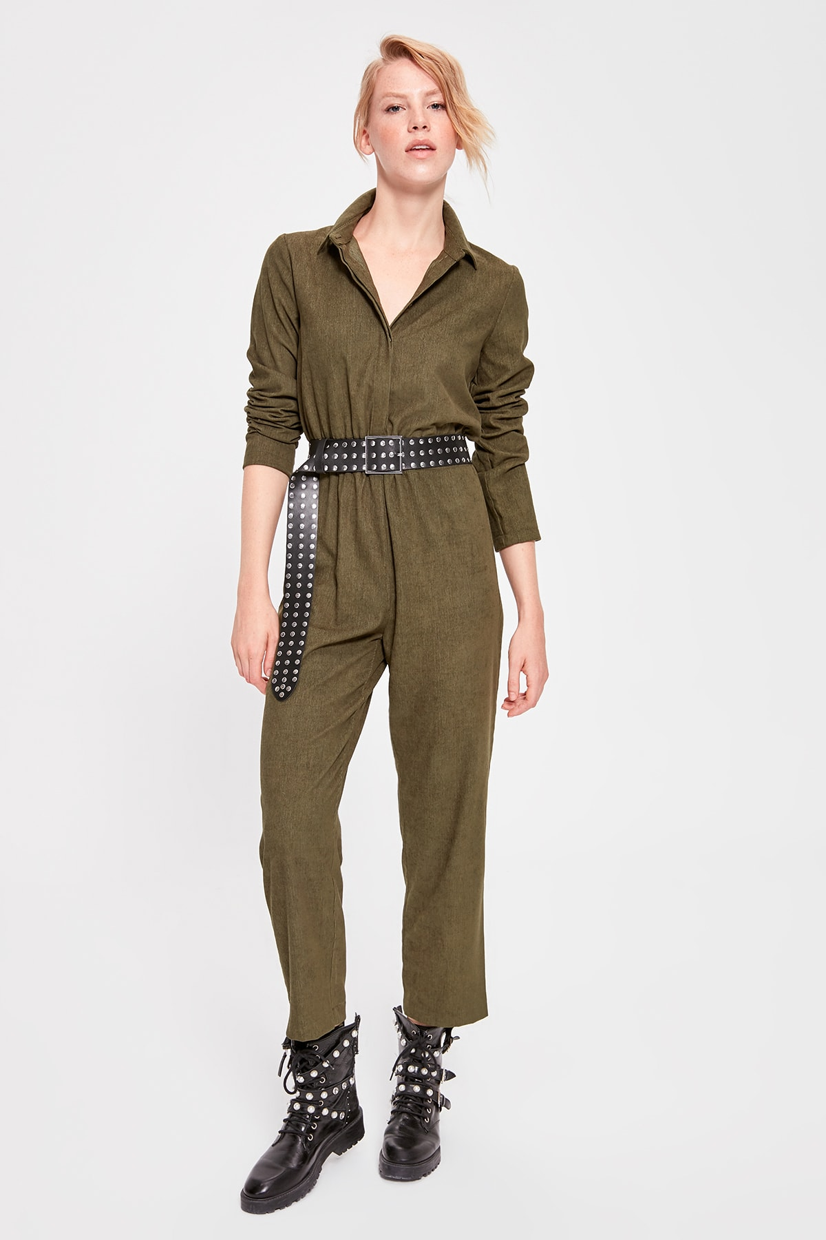 Trendyol Khaki Velvet Jumpsuit TWOAW20TU0081