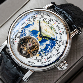 Sugess Earth Art Enamel Dial Seagull ST8000 Movement Genuine Tourbillon watch Luxury Business Watches Mens Watch Father Day Gift 1