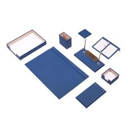 Кожаный Настольный набор, 10 штук с одним подносом для документов (настольный органайзер, Офисные аксессуары, настольные аксессуары, офисные...