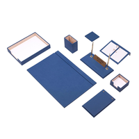 Leather Desk Set 10 Pieces With Single Document Tray (Desk Organizer, Office Accessories, Desk Accessories, Office Supplies)