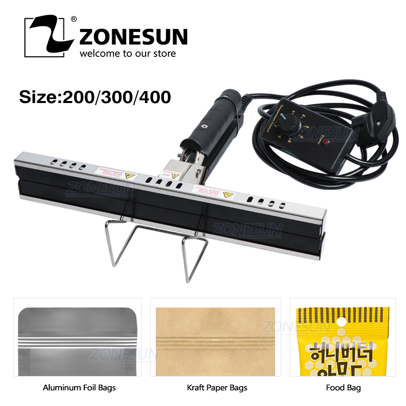 ZONESUN Direct-heat Pliers Sealing Machine For Aluminum Film Kraft Paper Bag Portable Impulse Sealer 200/300/400mm
