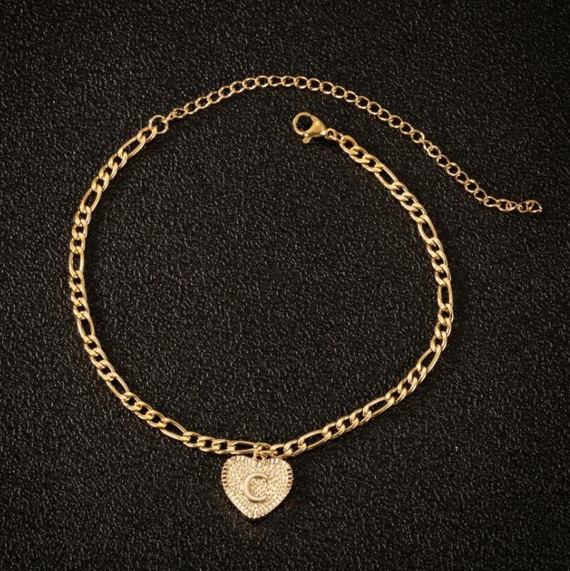 Initial Anklets Bracele for Women Stainless Steel Letter Leg Chain Gold Men Ankle Bracelet A-Z Alphabet Anklet Christmas Gifts