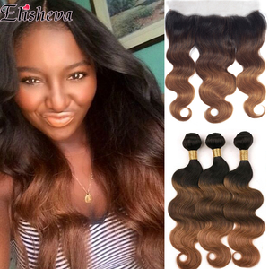 Image 1 - Elisheva Ombre Bundles with Frontal 1b 4 30 bundles with closure Body Wave Remy Brazilian Hair Weave Bundles With Closure 150
