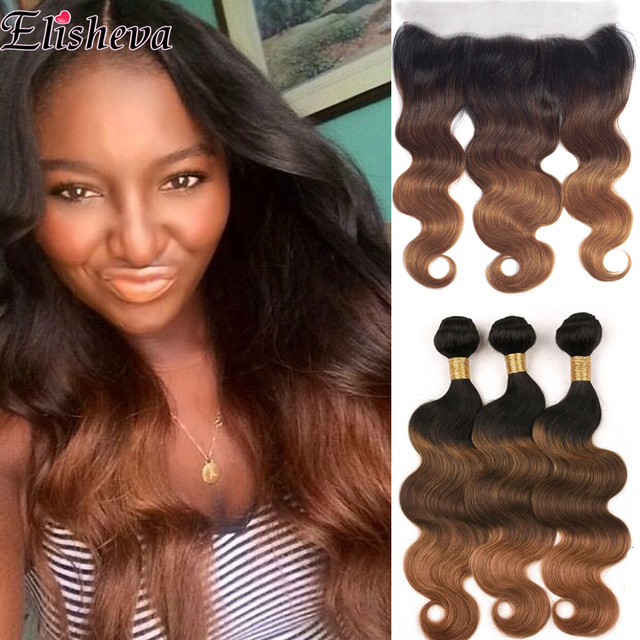 Elisheva Ombre Bundles with Frontal 1b 4 30 bundles with closure Body Wave Remy Brazilian Hair Weave Bundles With Closure 150