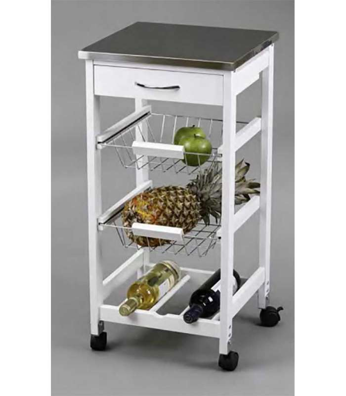 Kitchen Cart Baskets + Rack Stainless
