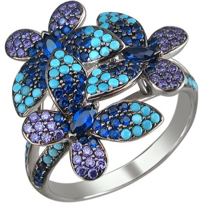 Esthete Ring With Spinel, Turquoise And Cubic Zirconia