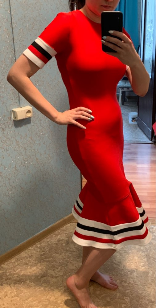 Summer Red Bandage Dress Women Sexy Short Sleeve Mermaid Club Dress Vestido Runway Celebrity Evening Party Dress photo review