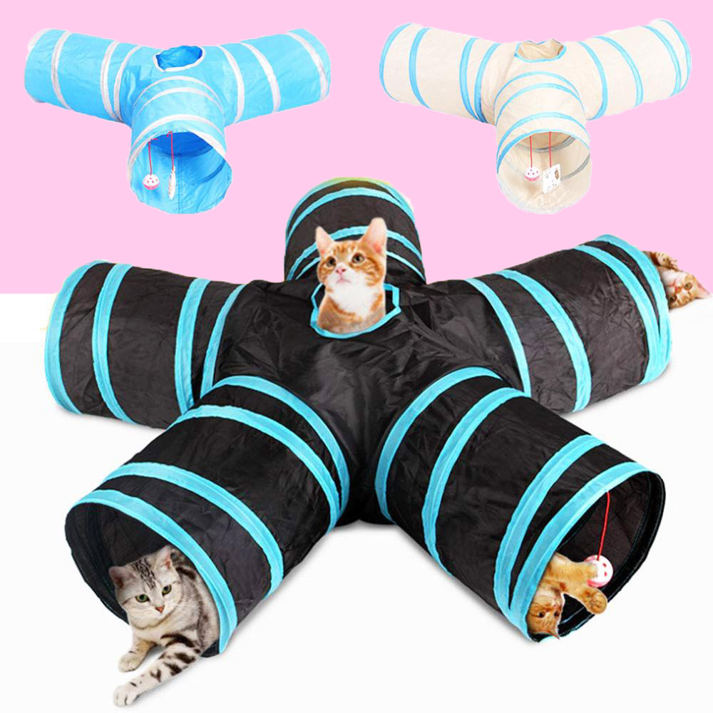 Cats Toy2/3/4/5 Holes Foldable Pet Cat Tunnel Play Tubes Balls Pets Kitten Indoor Outdoor Training Play Tube Play Tunnel image