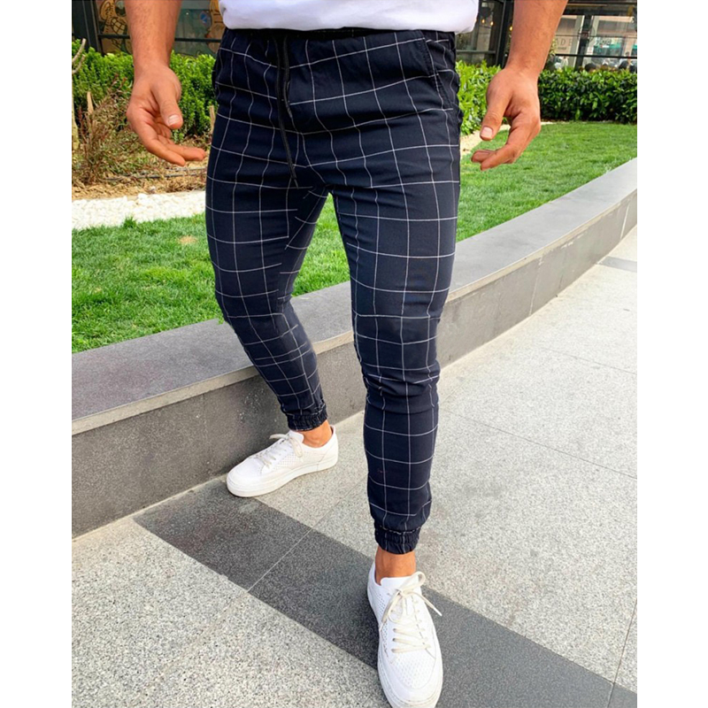 Men's Joggers High Waist Pants Pocket Plaid Slim Fit Straight Trousers Casual Track Sweatpants Fashionable Winter Straight Pants