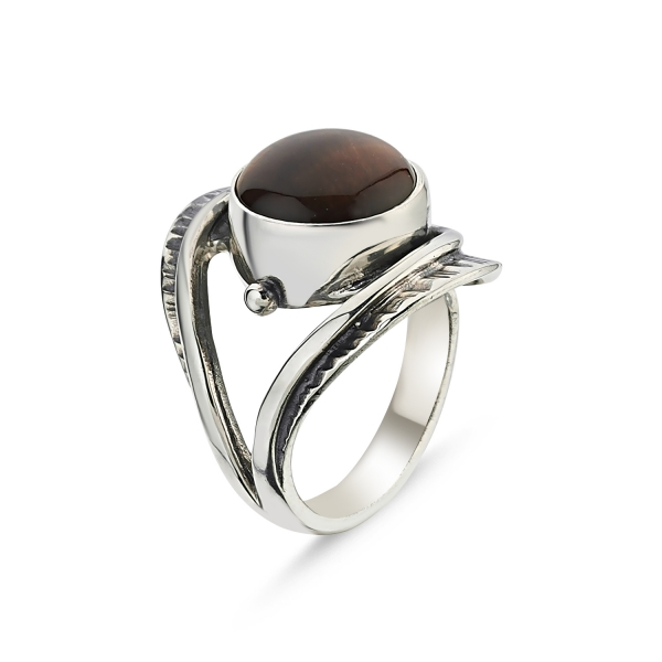 Silver 925 Sterling Tiger Eye Stone Hand Job Adjustable Tall Ring