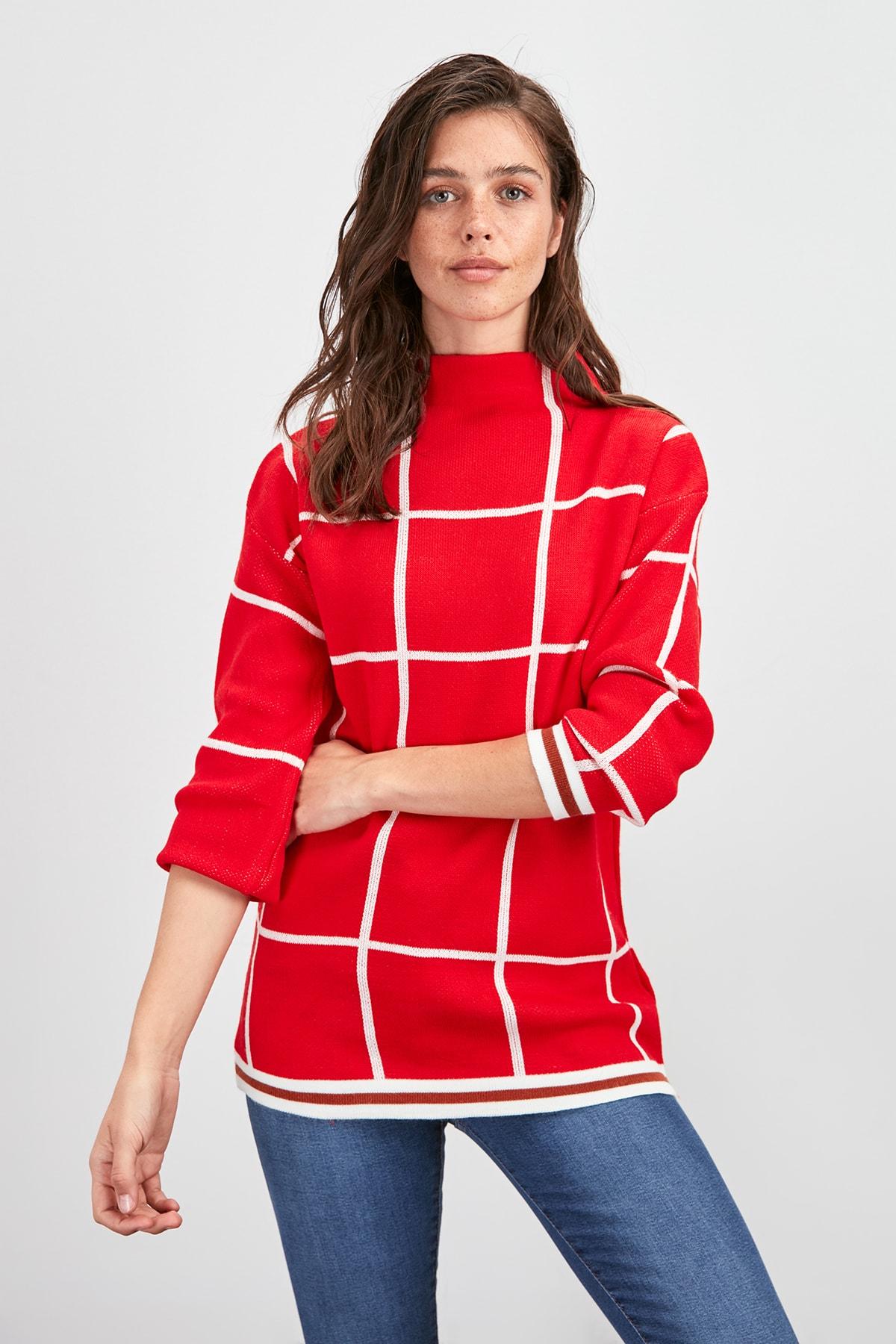 Trendyol Grid Pattern Knitwear Sweater TWOAW20KZ1391