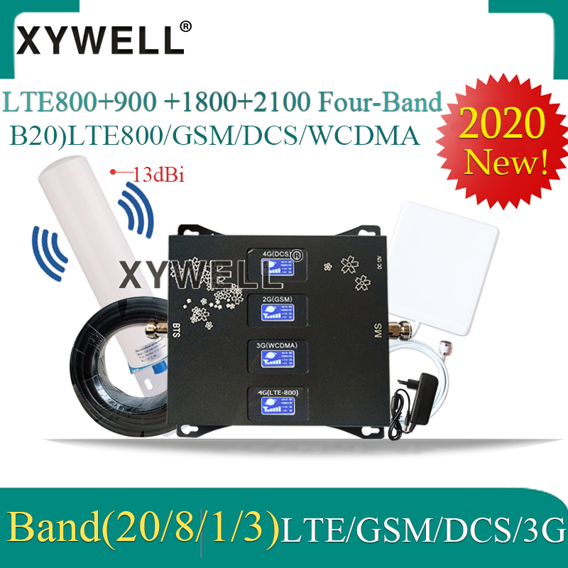 2020 New! B20 800 900 1800 2100mhz Four-Band Cellular Amplifier Gsm Repeater 2g 3g 4g  Mobile Signal Booster LTE GSM WCDMA DCS