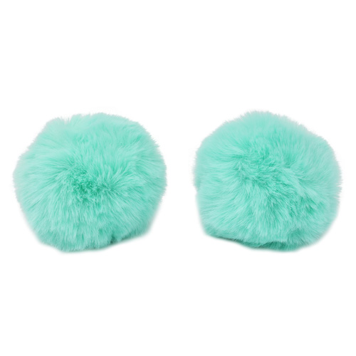 Pompon Made Of Artificial Fur (rabbit), D-8cm, 2 Pcs/pack (G Turquoise)