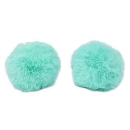 Pompon Made Of Artificial Fur (rabbit), D-8cm, 2 Pcs/pack (G Turquoise)