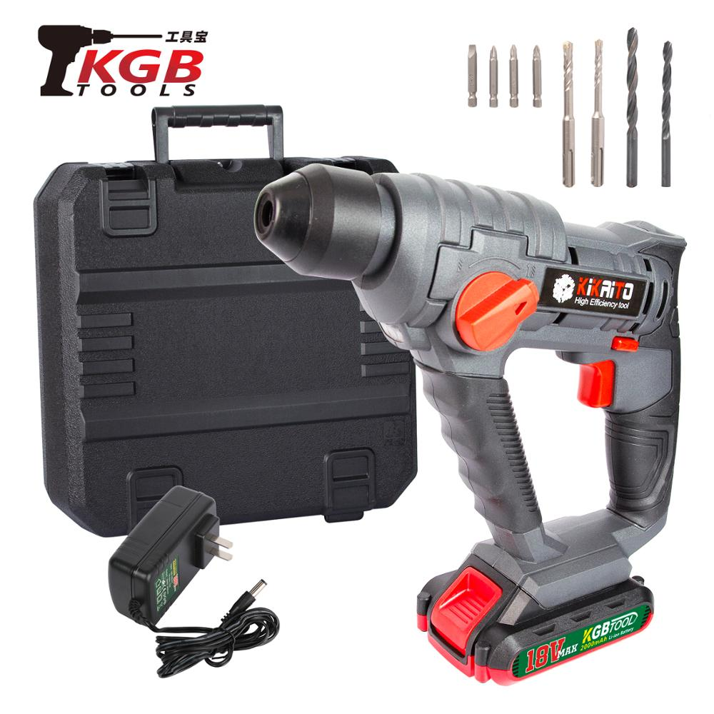 KGBTOOL 18V 3-function DC Electric Hammer With BMC And 10 Accessories Impact Drill Drill