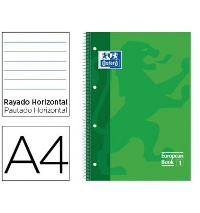 NOTEPAD SPIRAL OXFORD TOP EXTRADURA MICROPERFORATED DIN A4 80 SHEETS HORIZONTAL STRIPED GREEN COLOR