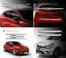 Renault-2012-2018 CLIO IV HB Chrome pełny zestaw akcesoriów ze stali nierdzewnej 15 sztuk (okno, boczna i tylna klapka, grill)