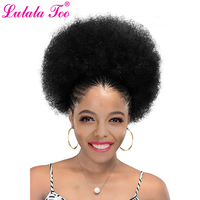 10inch Afro Puff Hair Bun Clip In Extensions Drawstring Ponytail Kinky Curly Human Hairpiece Lulalatoo Remy Hair