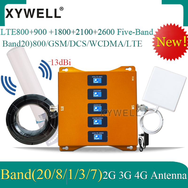 Five-Band B20 800/900/1800/2100/2600mhz 4G Signal Booster CellPhone 4G Repeater Gsm 2g 3g 4g Cellular Amplifier LTE DCS WCDMA