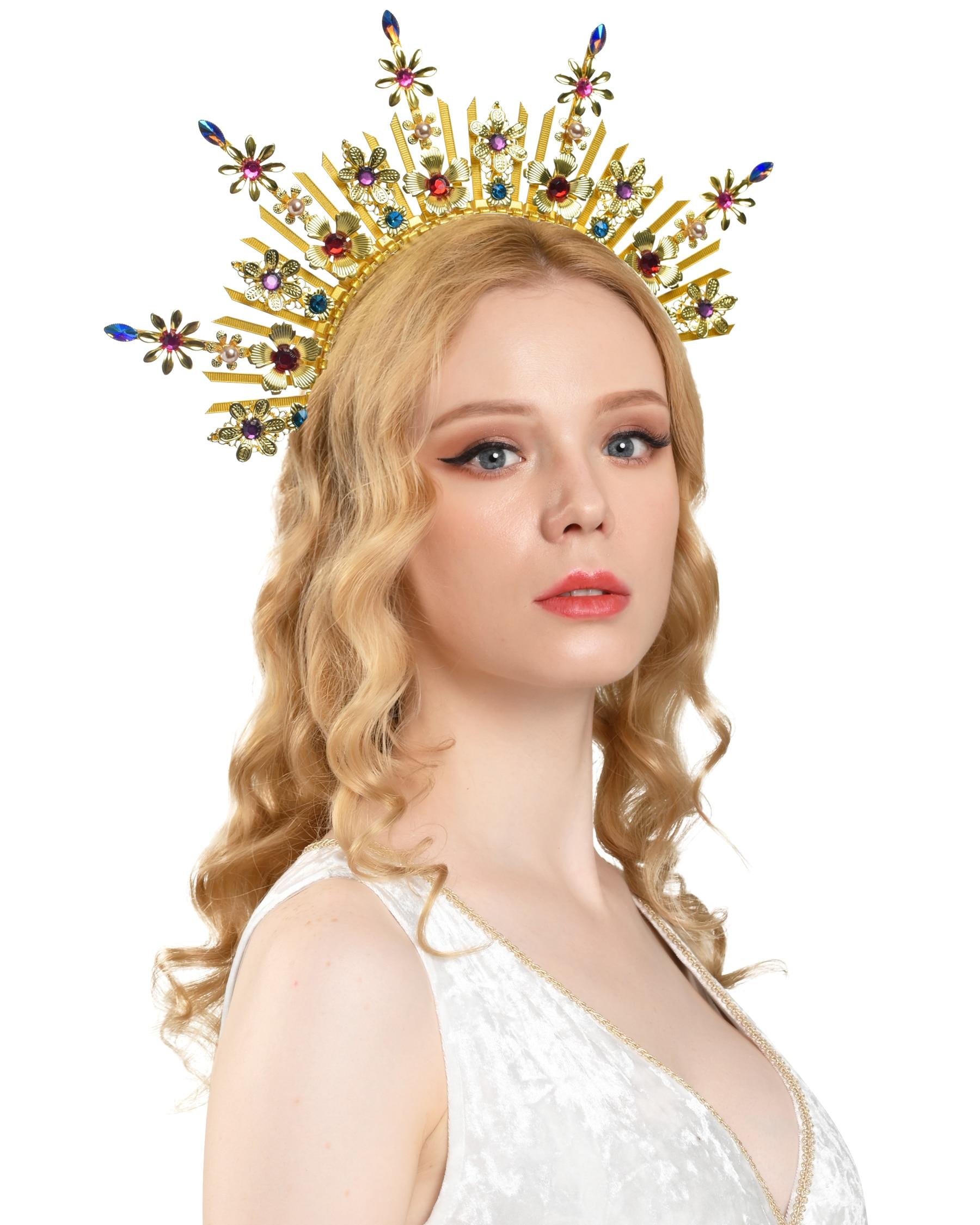 Богиня гало Корона Золотой гало головной убор в стиле бохо свадебная корона взрыв с пиками Корона Мэри гало головной убор