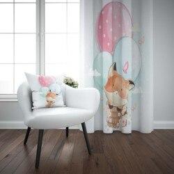 אחר חמוד שועל באוויר בלוני בעלי חיים 3d הדפסת ילדי תינוק ילדי חלון פנל סט וילון לשלב מתנת כרית מקרה
