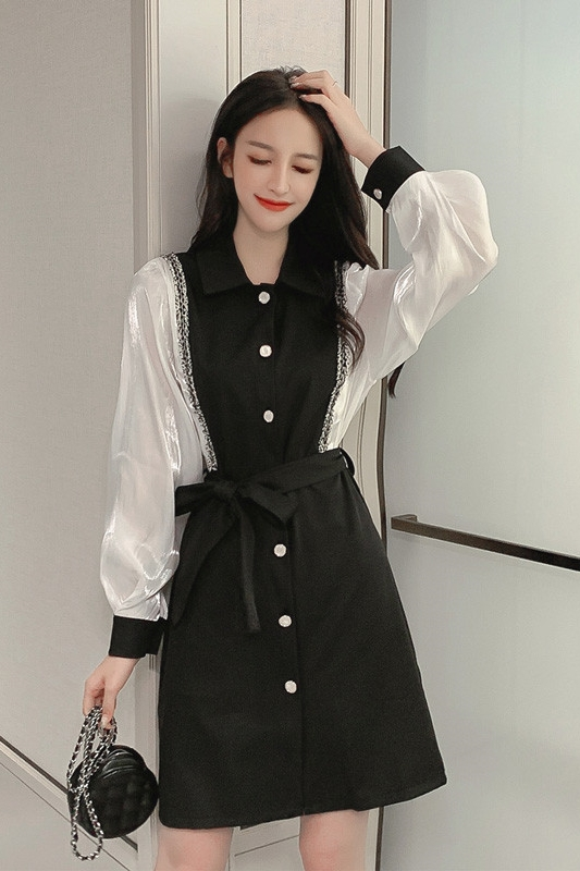 The new spring fashion is thin and fake two-piece bottoming shirt Hepburn style French super fairy women's temperament dress