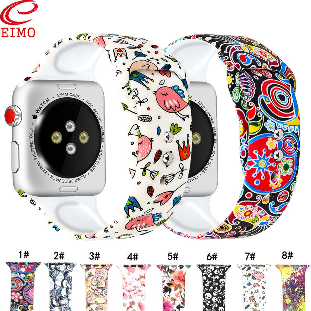 EIMO Strap for apple watch band correa 4 iwatch 42mm 38 mm 44mm 40mm bracelet Silicone Printing series 5 3