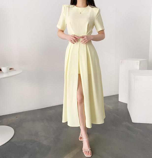 Women Elegant Vestidos 2021 Summer Korean Style Slim Elegant  Party Chic Casual Spilt Dresses 6