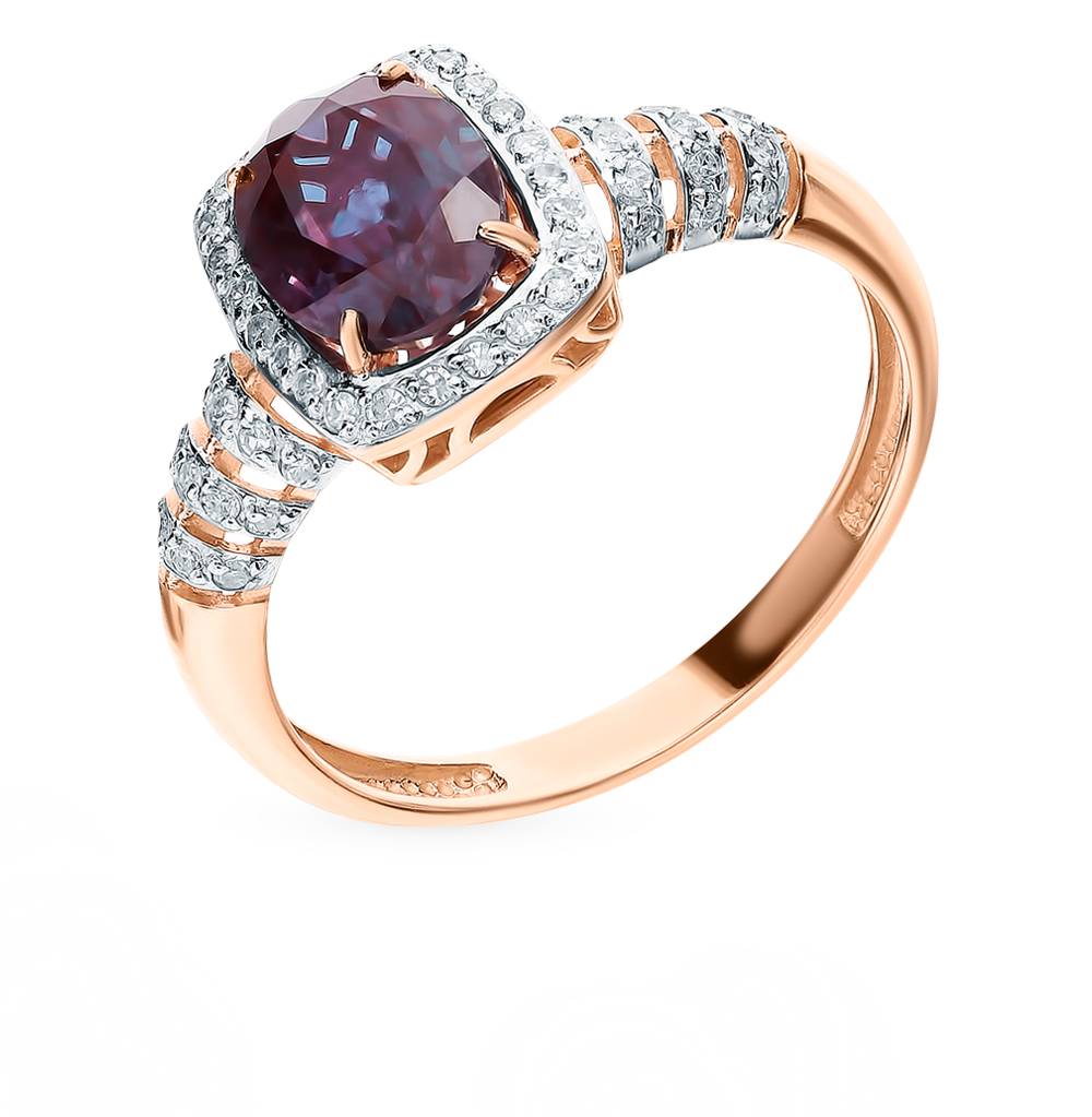 Gold Ring With Alexandrite And Diamonds Sunlight Sample 585