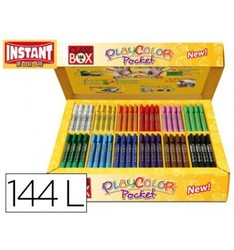 TEMPERA SOLID STICK PLAYCOLOR POCKET SCHOOL BOX 144 PCS 12 COLORS ASSORTED