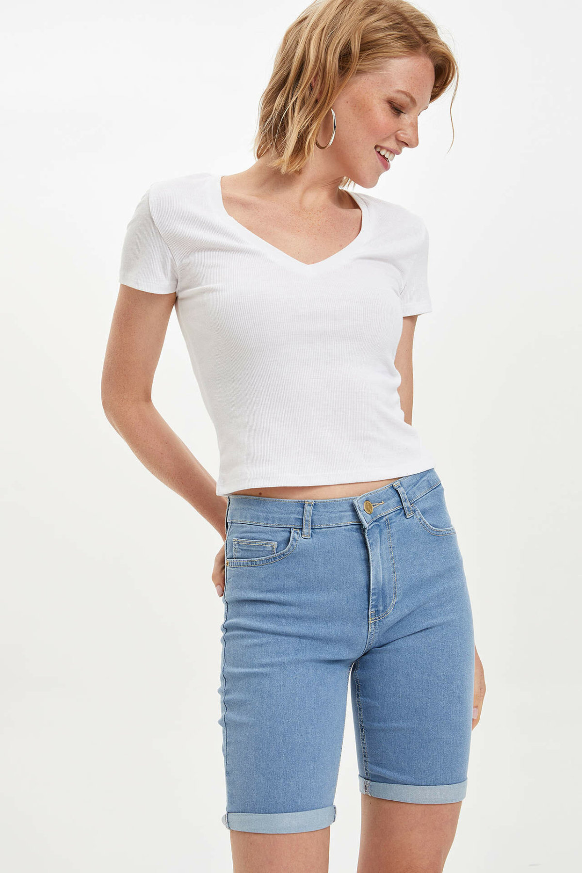 DeFacto New Fashion Women Blue High Waist Slim Short Female Casual Simple Short Simple Solid Button Bottoms - I7913AZ19SM