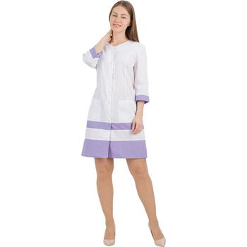 Female medical robe ivuniforma Olesya White with сиреневыми inserts female medical robe ivuniforma olesya white with лиловыми inserts